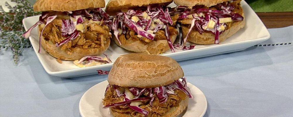 Elisabeth Hasselbeck\'s BBQ Chicken Sandwich with Red Cabbage Mango Slaw
