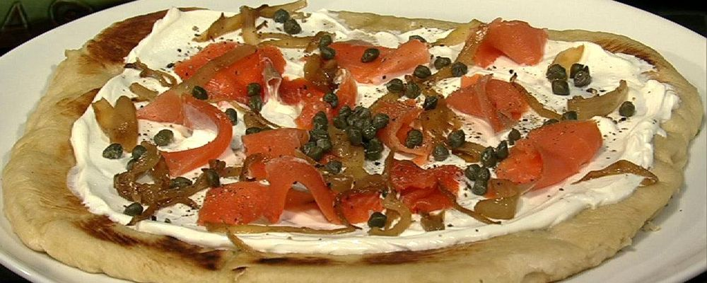 Michael Symon\'s Smoked Salmon and Creme Fraiche Pizza