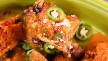 Michael Symon\'s Crispy Lime and Cilantro Chicken Wings with Sriracha
