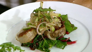 Michael Symon\'s Pork Tenderloin with Greens and Apples