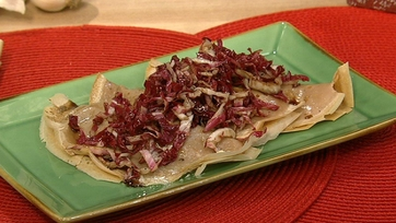 Chestnut Crepes with Radicchio and Mushroom Filling