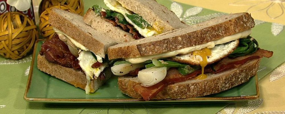 Bacon, Egg, and Spring Onion Sandwich