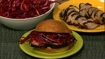 Dry-Rubbed Pork Tenderloin and Pickled Cabbage Sandwiches