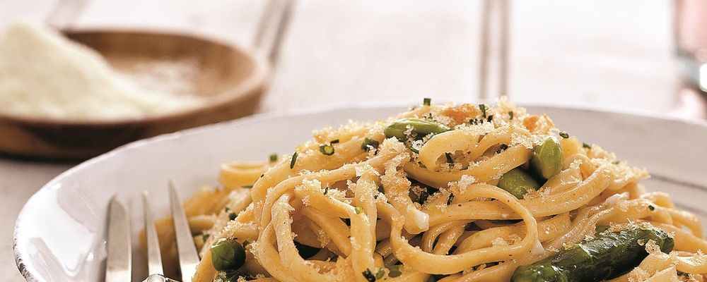 Michael Symon\'s Spring Pasta with Chive Breadcrumbs