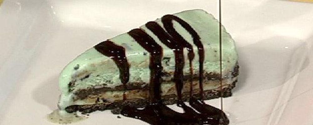 Mint Chocolate Chip Ice Cream Torte with Chocolate Creme de Menthe Sauce