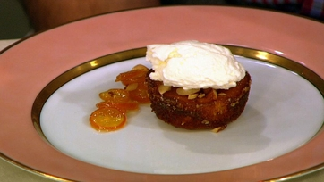 Almond and Orange Cake with Candied Kumquats and Whipped Creme Fraiche