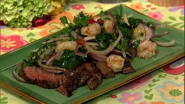Skirt Steak with Rock Shrimp Salad