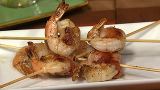 Bacon-Wrapped Grilled Shrimp with Dijon Butter Sauce