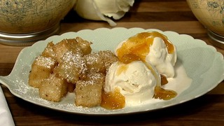 Fried Grits with Ice Cream and Warm Marmalade