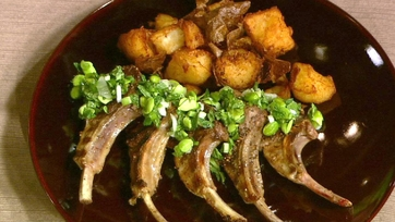 "Spring Lamb Chops with Ultimate Fried Potatoes and Fava ""Guac"""