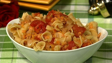Pasta and Red Lentil Sauce