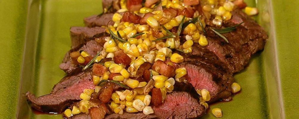 Grilled Flank Steak with Bacon Rosemary Corn