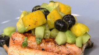Chili Salmon with Mango Cucumber Salsa