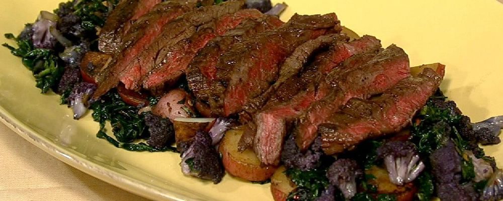 Grilled Skirt Steak with Cauliflower Hash
