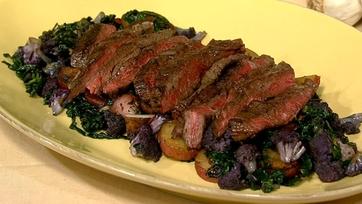 Grilled Skirt Steak with Cauliflower Hash