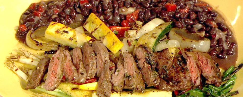 Sal\'s Skirt Steak with Chimichurri Sauce and Black Beans