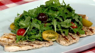 Swordfish Paillard with Arugula and Tomatoes