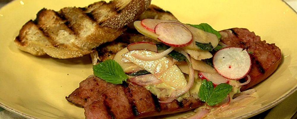Daphne Oz\'s Kielbasa with Spicy Mustard and Apple Radish Salad