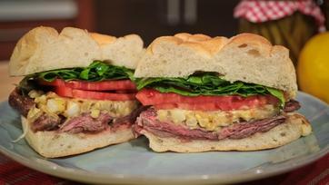 Mario Batali\'s Grilled Skirt Steak Sandwich with Charred Corn Mustard