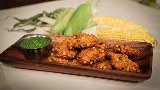 Carla Hall\'s Corn Fritters with Tomatillo Salsa