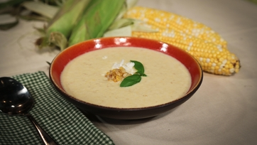 Daphne Oz\'s Grilled Corn Soup with Basil and Feta
