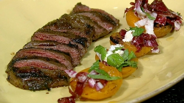 Michael Symon\'s Skirt Steak with Grilled Apricots, Mint and Feta