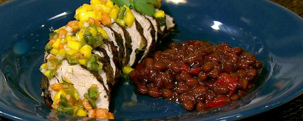Debbie Reid\'s Cocoa Spiced Pork Tenderloin with Sweet and Spicy Salsa