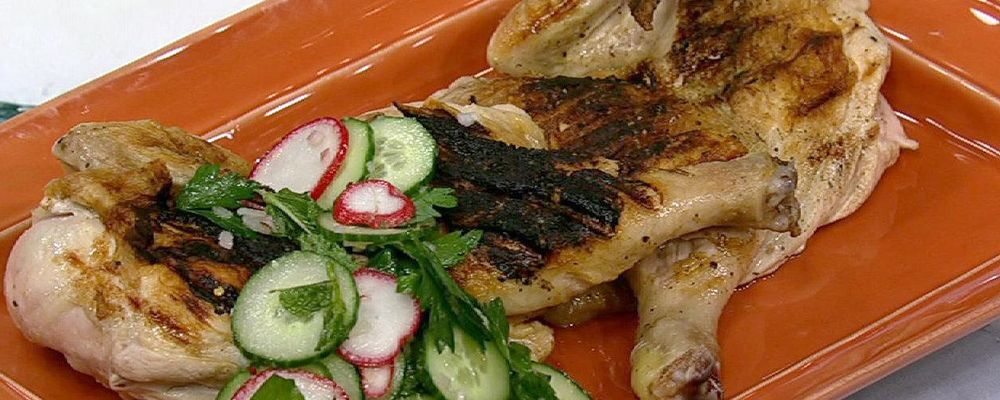 Michael Symon\'s Grilled Chicken with Salsa Verde and Radish Salad