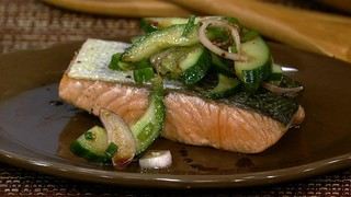 Planked King Salmon with Cucumbers and Balsamic Vinegar