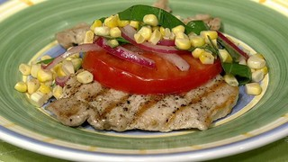 Michael Symon\'s Pork Paillard with Beefsteak Tomato Salad