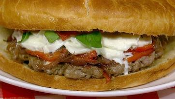 "Josh Capon\'s Sausage and Pepper ""Pizza"" Burger"