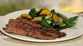 Dry-Rubbed Skirt Steak with Peach Cucumber Salad