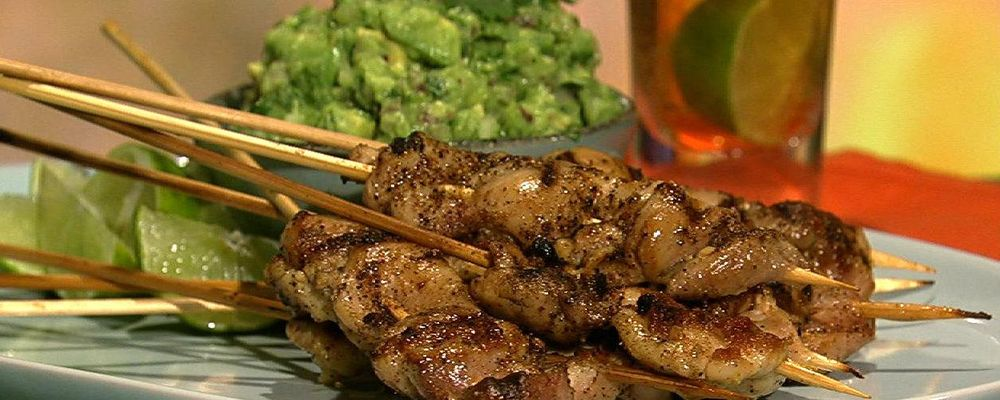 Michael Symon\'s Lime and Jalapeno Chicken Skewers with Guacamole