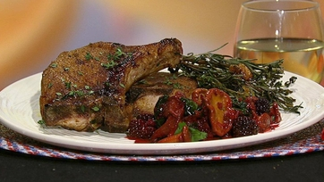 Michael Lomonaco\'s Spice Roasted Pork Chops with Chanterelles and Blackberries