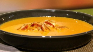 Carla Hall\'s Yellow Tomato Soup with Grilled Cheese Croutons