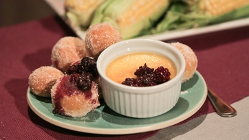 Mario Batali\'s Cornmeal Zeppole with Blackberries and Sweet Corn Crema
