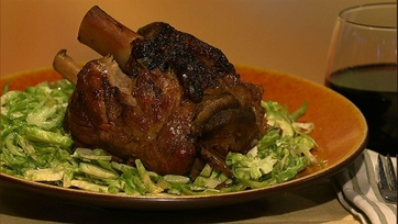 Michael Symon\'s Braised Pork Shanks with Shaved Brussels Sprout Salad