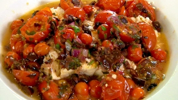 Finola Hughes\' Feta, Cheese and Olive Bake