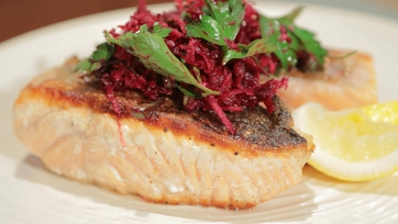 Michael Symon\'s Pan-Seared Salmon with Beet Salad