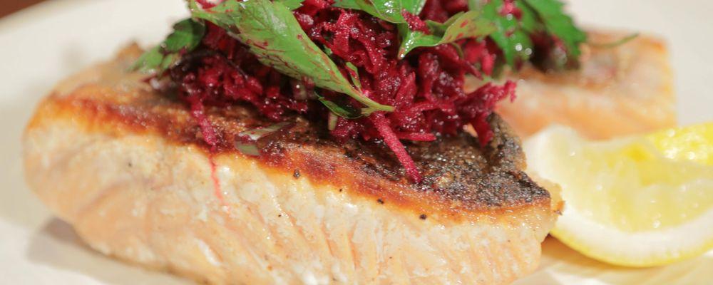 Michael Symon\'s Pan-Seared Salmon with Beet Salad