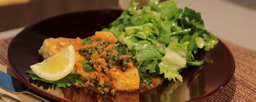 Mario Batali\'s Swordfish Piccata with Escarole Salad