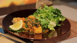 Mario Batali\'s Swordfish Piccata with Escarole Salad