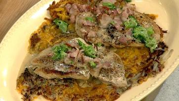 Michael Symon\'s Chicken Paillard with Cheesy Hash Browns