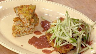 Mario Batali\'s Turkey Cutlets with Spanish Tortilla and an Apple Salad