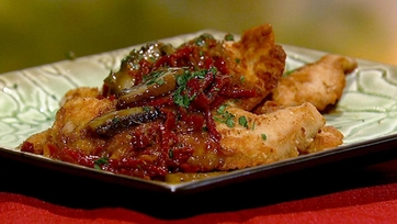 Michael Symon\'s Turkey Cutlets with Sun-Dried Tomatoes and Shitakes