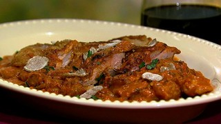 Turkey Thigh Cutlets with Tomato Vodka Sauce and Shaved White Truffles
