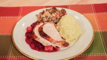 Pan Seared Turkey with Cranberry Apple Chutney