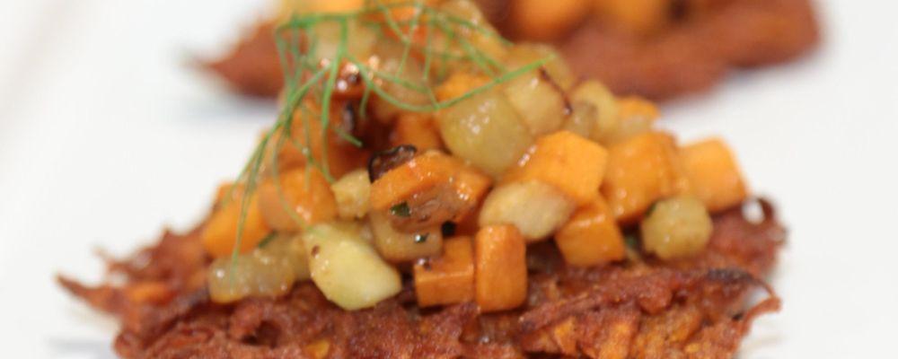Vegetable Caponata on Sweet Potato Crisps