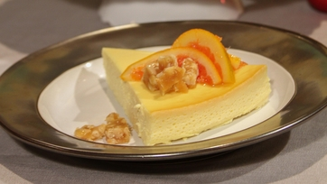 Yogurt Cheesecake with Pine Nut Brittle and Blood Orange Marmalade