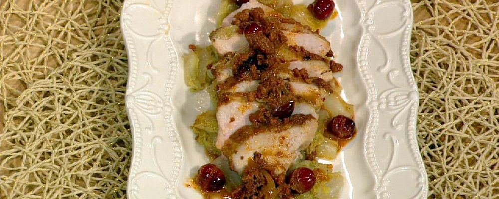 Mario Batali\'s Pheasant with Cabbage and Chorizo-Cranberry Sauce